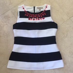 Banana republic jewel neck blue and white top